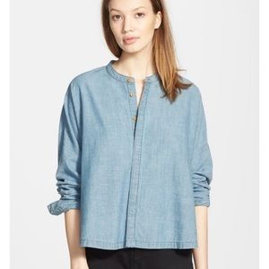 Madewell Blue Chambray Dolman Button Front Shirt